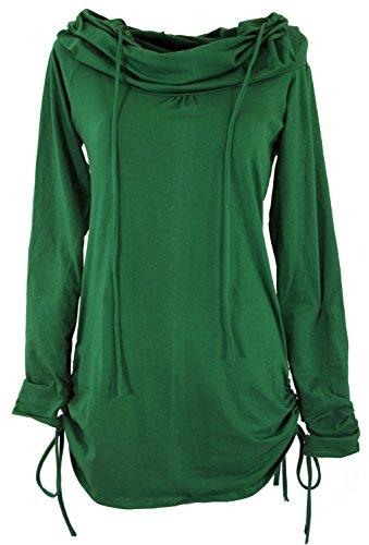 Guru Bekleidung Kleider Alternative Weiter Longshirt Shop mit Minikleid Baumwolle Smaragdgrün Schalkapuze Damen Kurze CFCpxrqP