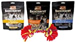Merrick Backcountry Grain Free Treats 3 Flavor Variety Bundle with Toy, (1) Each: Chicken Jerky, Chicken Sausage, Salmon 3.5-5 Ounces