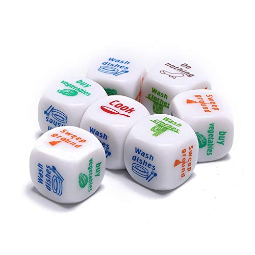 GoXteam 7pcs/Set Fun for Adult Couples Housework Dice White Color Dices Romance Dice Lover Couple Games Funny Flirting -