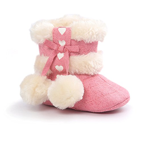 ESTAMICO Baby Girl Winter Fur Snow Boots Toddler Shoes with Bowknot 3-6 Months DarkPink