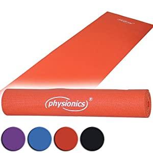 Physionics Gymnastik Rot 0.5 x 180 x 60 cm Yogamatte Pilates, FNMT02-0.5