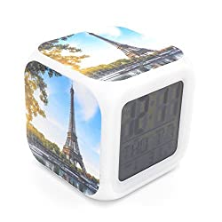 BoFy Led Alarm Clock France Paris Landmark Eiffel Tower Pattern Personality Creative Noiseless Multi-functional Electronic Led Lights Desk Table Digital Alarm Clock for Unisex Adults Kids Toy Gift