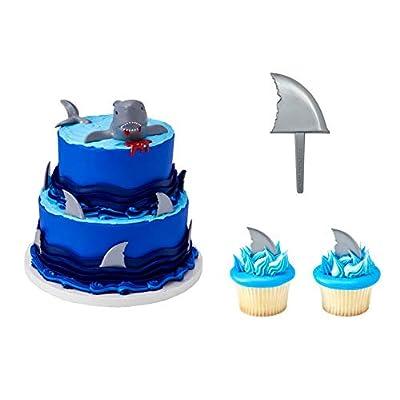 DecoPac Shark Creations Cake Topper PLUS 12 Shark Fin Cupcake Picks: Grocery & Gourmet Food