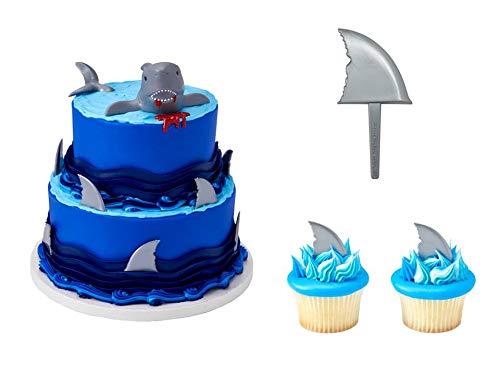 (Shark Creations Cake Topper PLUS 24 Shark Fin Cupcake Picks - National Cake Supply)