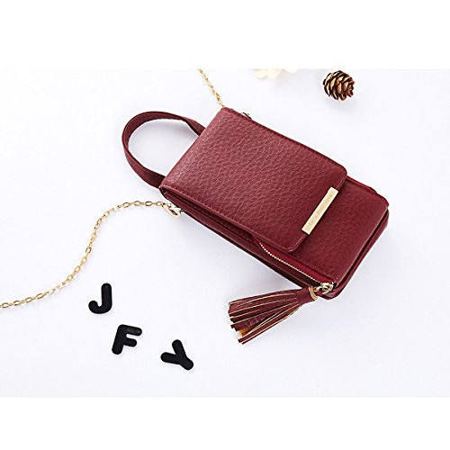 Women JOSEKO Handbag Shoulder Cell Wine Purse Phone Bag Chain Strap Red Leather Small Bag with Crossbody qaIRXC