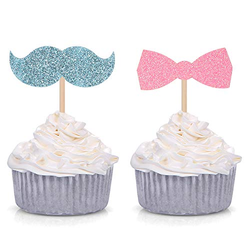 24 Counts Baby Gender Reveal Cupcake Toppers - Baby Shower Girl or Boy Party Decorations Supplies]()