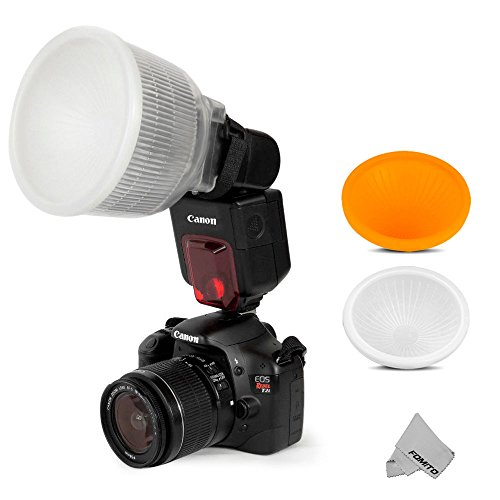 Fomito Universal Cloud Lambency Flash Diffuser + 2 pcs Cover White & Orange...