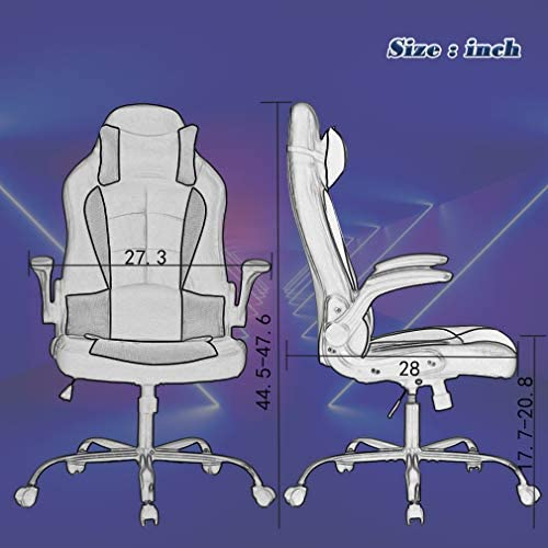BestOffice PC Gaming Chair Ergonomic Office Chair Desk Chair with Lumbar Support Flip Up Arms Headrest PU Leather Executive High Back Computer Chair for Adults Women Men, Black and White 41MQhky3HaL