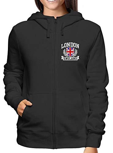 Donna T Nero Tstem0184 Cappuccio E England shirtshock London Felpa Zip Y6rYPX