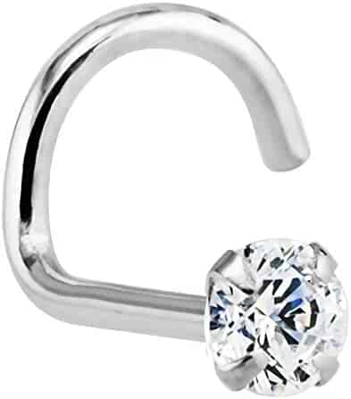 FreshTrends Diamond 14K White Gold Nose Ring Twist Screw 20G