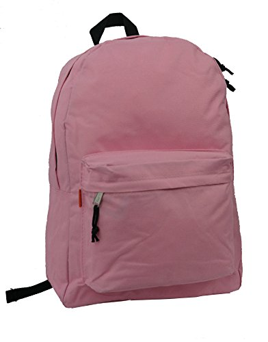 Classic Bookbag Basic Backpack Simple School Book Bag Casual Student Daily Daypack 18 Inch with Curved Shoulder Straps Pink