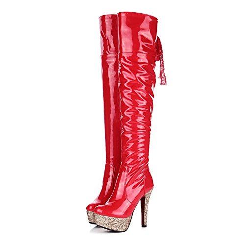 Lackleder Stiletto BalaMasa Rot Plattform Stiefel Mädchen Reißverschluss qwTIP