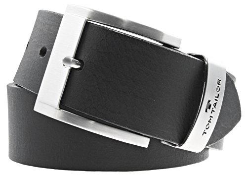 TOM TAILOR Herren Gürtel Herrengürtel Leder Gürtel Ledergürtel 40 mm schwarz, Länge:100