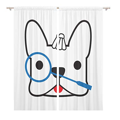 Tinmun 104 x 84 Inch Decorative Drapes Animal Cute French Bulldog Wanna Play Badminton Ask Ball 2 Panels Window Curtains for Living Room Bedroom Printed (Best Badminton Matches Videos)