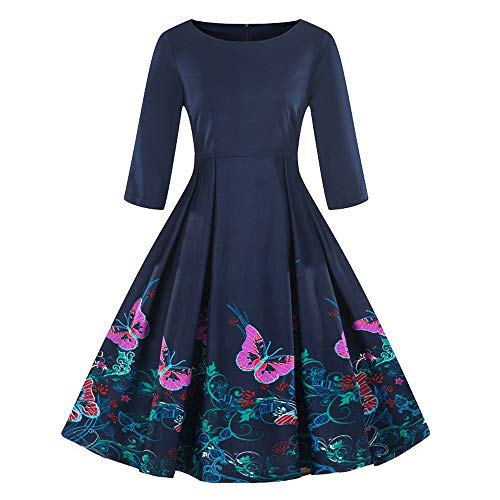 (Rakkiss Fashion Womens Plus Size 3/4 Sleeve Vintage Dress Floral Print Retro Swing Dress Purple)