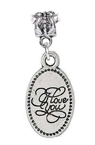 (I Love You Cursive Words Oval Message Dangle Charm for European Bead Bracelets Jewelry Making Supply by Wholesale Charms)
