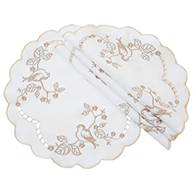 Xia Home Fashions Woodland Embroidered Cutwork Round Doily, 12-Inch, Set of 4