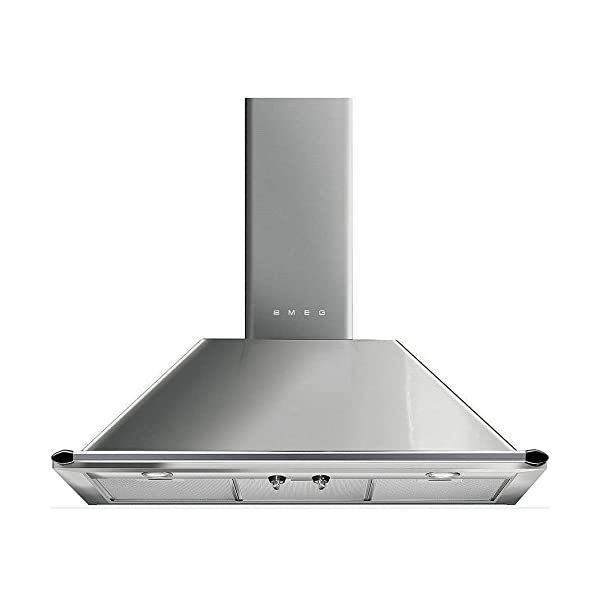"""Smeg KT90XU 36"""" Wall Mount Chimney Range Hood with 600 CFM and 4 Fan Speeds, Stainless Steel 1"""