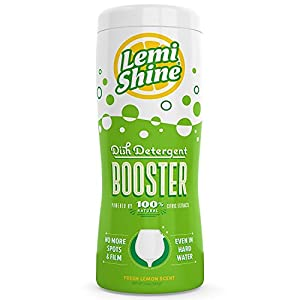 Lemi Shine 12 Oz Dishwasher Detergent Booster Removes the Toughest Hard Water Stains on Dishes & Glassware Safe, Natural, Powerfully Effective