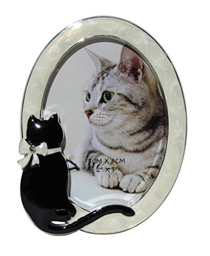 Oval Photo Frame with Cat, 4 1/4 inch