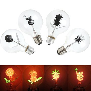 Botanical Clipart (E27 Led Bulbs - Vintage Industrial Filament Floral Iris E27 Led Night Light Bulbs Screw Cap Lamp - Flower Vintage Light Bulb Earrings Fabric Stretch Dress Vase Wallpaper - Flower Bulb - 1PCs)