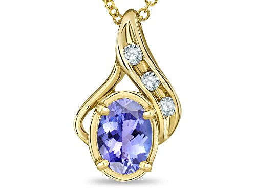 Star K Oval 7x5mm Genuine Tanzanite Pendant Necklace 10 kt Yellow Gold