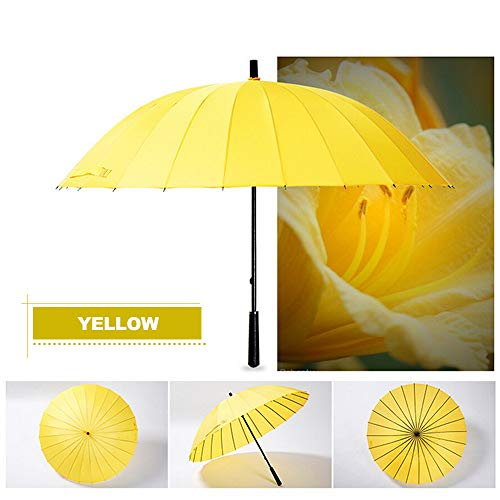 Retrofish Manual Open & Close Waterproof Windproof Travel Stick Umbrella with 24 Ribs, Durable and Strong Enough (Yellow)