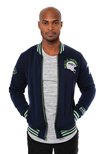 NFL Men's Seattle Seahawks Full Zip Fleece Varsity Jacket Embroidered Vintage, Large, (Embroidered Fleece Jersey)