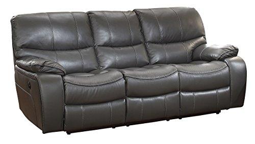 Homelegance Set Sofa (Homelegance Pecos Modern Design Power Double Reclining Sofa Leather Gel Match, Gray)