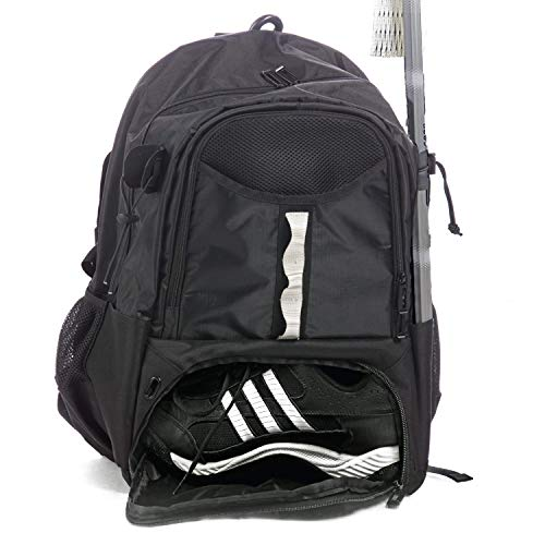 Athletico Youth Lacrosse Bag - Extra Large Lacrosse Backpack - Holds All Lacrosse or Field Hockey Equipment - Two Stick Holders and Separate Cleats Compartment (Black)