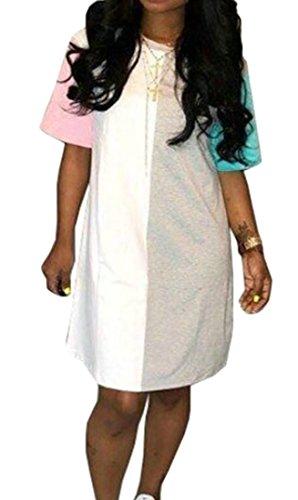 Bicchierino Casuale Contrasto Donne Manica Metà Del Estiva Vestito Cromoncent Camicia Allentata Rosa U7WCqw6f