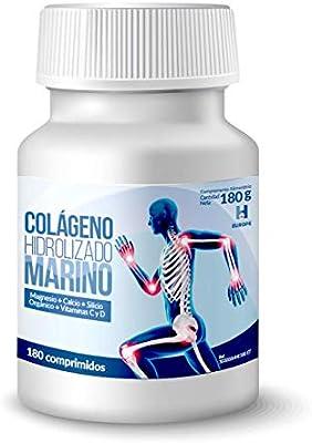 Colágeno Marino Hidrolizado - Con Magnesio, Calcio, Silicio Orgánico y Vitaminas C y D - Ayudar a mantener la salud óptima de articulaciones y huesos - 180 Cápsulas de 1 g: Amazon.es: