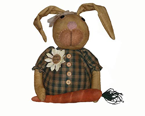Craft Outlet Daisy Dugmore Primitive Bunny Rabbit in Flower Pot Figurine, 12-Inch