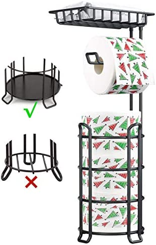 Toilet Paper Holder Stand Upgrade Free Standing Bathroom Toilet Tissue Holders with Top Shelf Storage 3 Mega Rolls Black