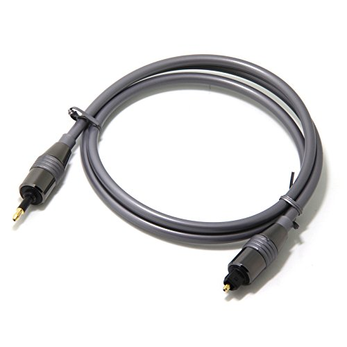 Cables (3 Feet) Toslink to Mini Toslink Digital Optical S/PDIF Audio Cable with Metal Connectors & Strain-Relief PVC Jacket