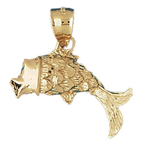 14K Yellow Gold Goldfish Pendant Necklace - 29 mm 14k Yellow Goldfish Pendant