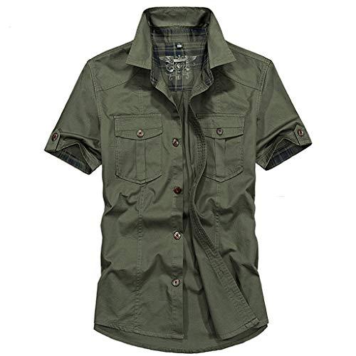 Military Sweatshirt Logo (Chiccc Men's Casual Fashion Military Pure Color Pocket Short Sleeve T-shirt Top Blouse Dashiki Shirt Boho Top)