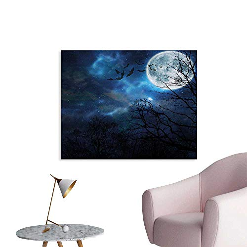 Halloween Canvas Art Posters Bats Flying in Majestic Night Sky Moon Nebula Mystery Leafless Trees Forest Decorative Fine Art Poster Print W48 xL32 ()