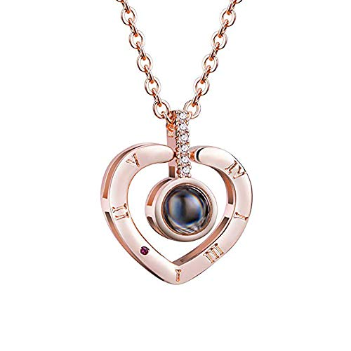 Filluck Love Heart Necklace I Love You Necklace for Women 100 Languages Memory Necklace Best Gift for Her