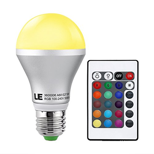 LE Dimmable A19 E26 RGB LED Bulb, Color Changing, 160° Beam