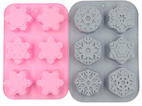 (Floranea 2 Pcs Silicone Soap Mold Snow Pink Mixed Patterns Large Snowflake Floral Flower Mold for DIY Handmade Baking Cake Pan Chocolate Ice Cube Tray Baking Jello Art Craft Supplies)
