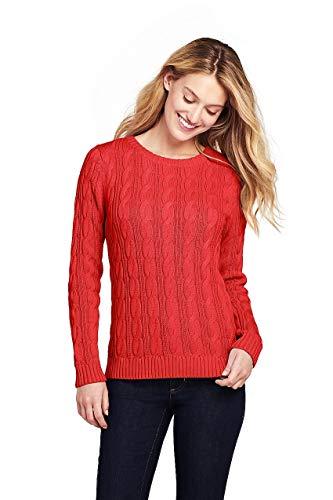 Lands' End Women's Drifter Cotton Cable Knit Sweater Crewneck, L, Zesty Orange