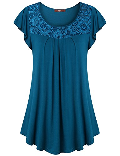 Gaharu Work Tops for Women, Blouses for Juniors Trendy Frill Sleeve Lace Stitching T Shirt Breathable Flattering Plain Pleated Front Business Clothes Dark Cyan,Large by Gaharu