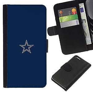 YiPhone /// Tirón de la caja Cartera de cuero con ranuras para tarjetas - Minimalista Blue Star - Apple Iphone 5C