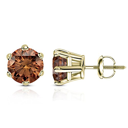 14k Gold Round Brown Diamond 6 Prong Basket Stud Earrings (1/4 2 ct, Brown, SI2 I1) Screw Back