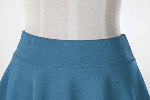 Midi Elastique Rtro Jupe Acier Court Plisse Basique Fille Bleu Patineuse GoCo Femmes Urban Jupe g8nwvq1Fw