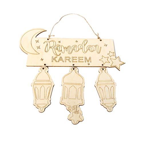 HoHome Eid Mubarak Muslim Islam Ramadan Decorations Hanging Lantern Pendant Plaque Sign Ornament DIY Wall Decor Party Supplies ()