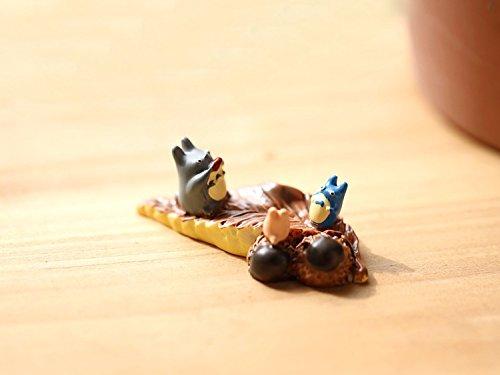 2 pcs Miniature Totoro Figurine Chu and Chibi Totoro Sitting On A Leaf Fairy Garden Supplies
