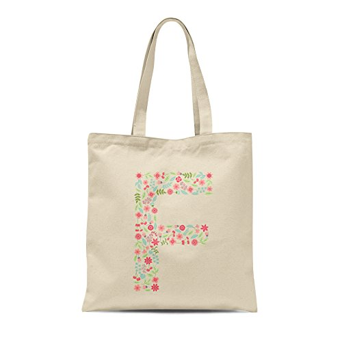 Birthday Letter Alphabet Tote Floral Shopper Any Bag F Gift Personalised Present Letter gABqx0
