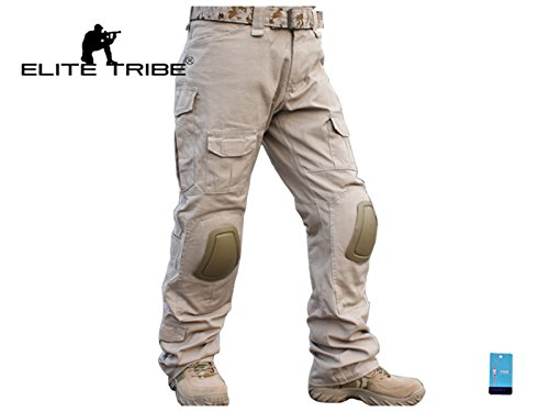 (Men Military Tactical Series Airsoft Paintball Hunting Trouser Combat BDU Pants with Knee Pads Tan (Tan, XL))